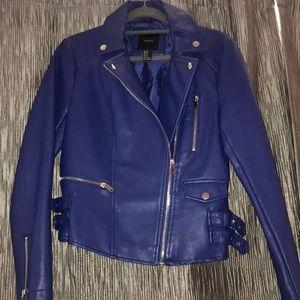 Jackets & Blazers - Forever 21 Moto Jacket in Cobalt Blue. Size M